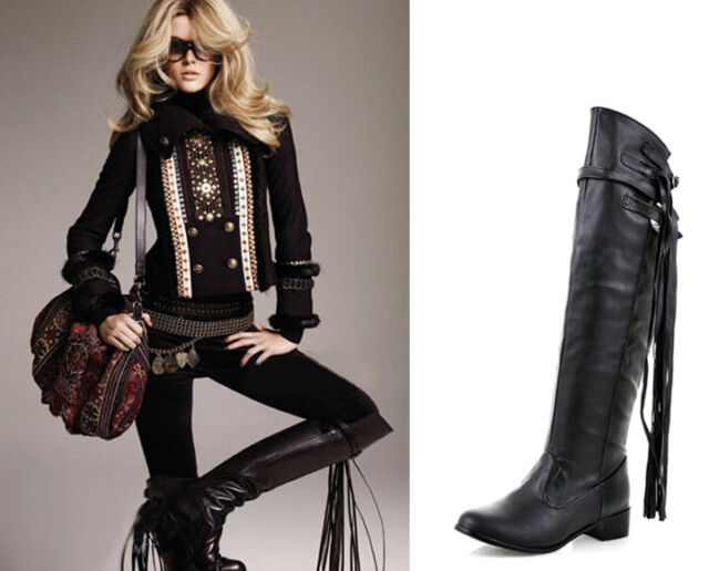 Womens Lace Roma Punk Tassels Motorbiker Buckle Knee High Boots Shoes Plus Sz