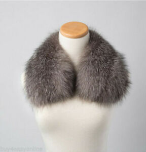 Real-Natural-Silver-Fox-Fur-Collar-Detachable-Scarf-50cm-19-7-034-Fur-Neck-Warmer