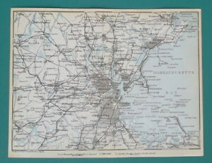 BOSTON-amp-Environs-Massachusetts-1909-MAP-Baedeker-6-x-8-034-15-x-20-cm
