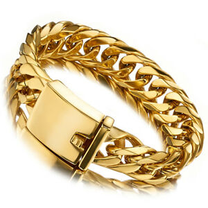 Men-Boy-Yellow-Gold-Plated-Stainless-Steel-16mm-width-Link-Chain-Heavy-Bracelet