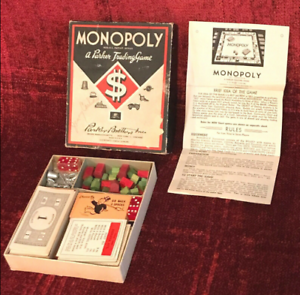 1936 Vintage Monopoly Game Pieces without Board and a Few Pieces