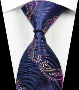 Hot-Classic-Paisley-Purple-Rose-Gold-JACQUARD-WOVEN-100-Silk-Men-039-s-Tie-Necktie