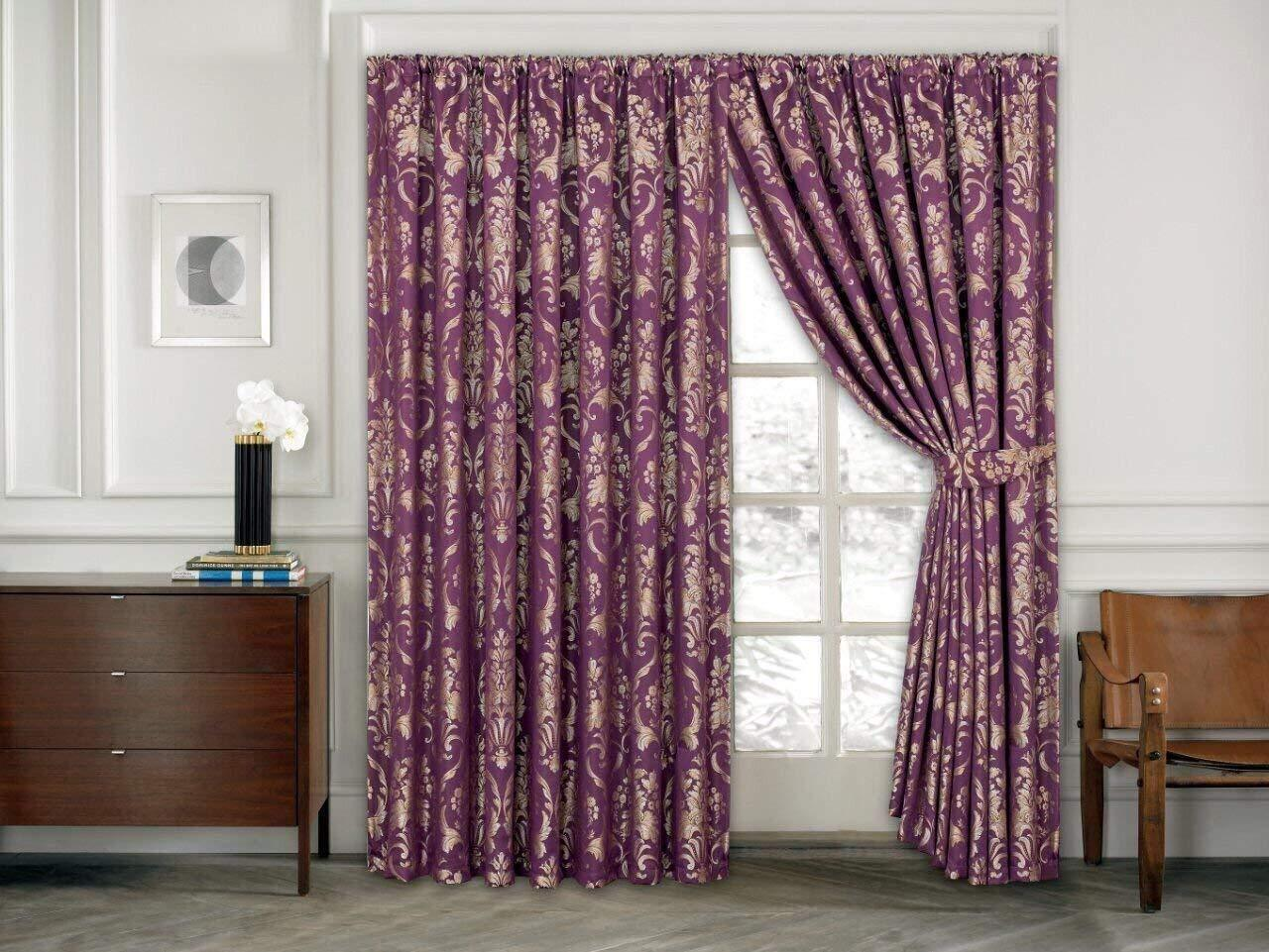 Ruby lila 5 Piece Quilted Bettspread Bettding Set & Pencil Pleat Curtains