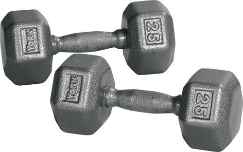 York Barbell 34009 Pro Hex Dumbbell with Cast Ergo Hele grigio  25 lbs