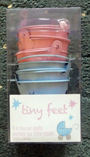 Birthday NEW Tiny Feet Pack 6 Babys Birth Baby Shower Favour Pails
