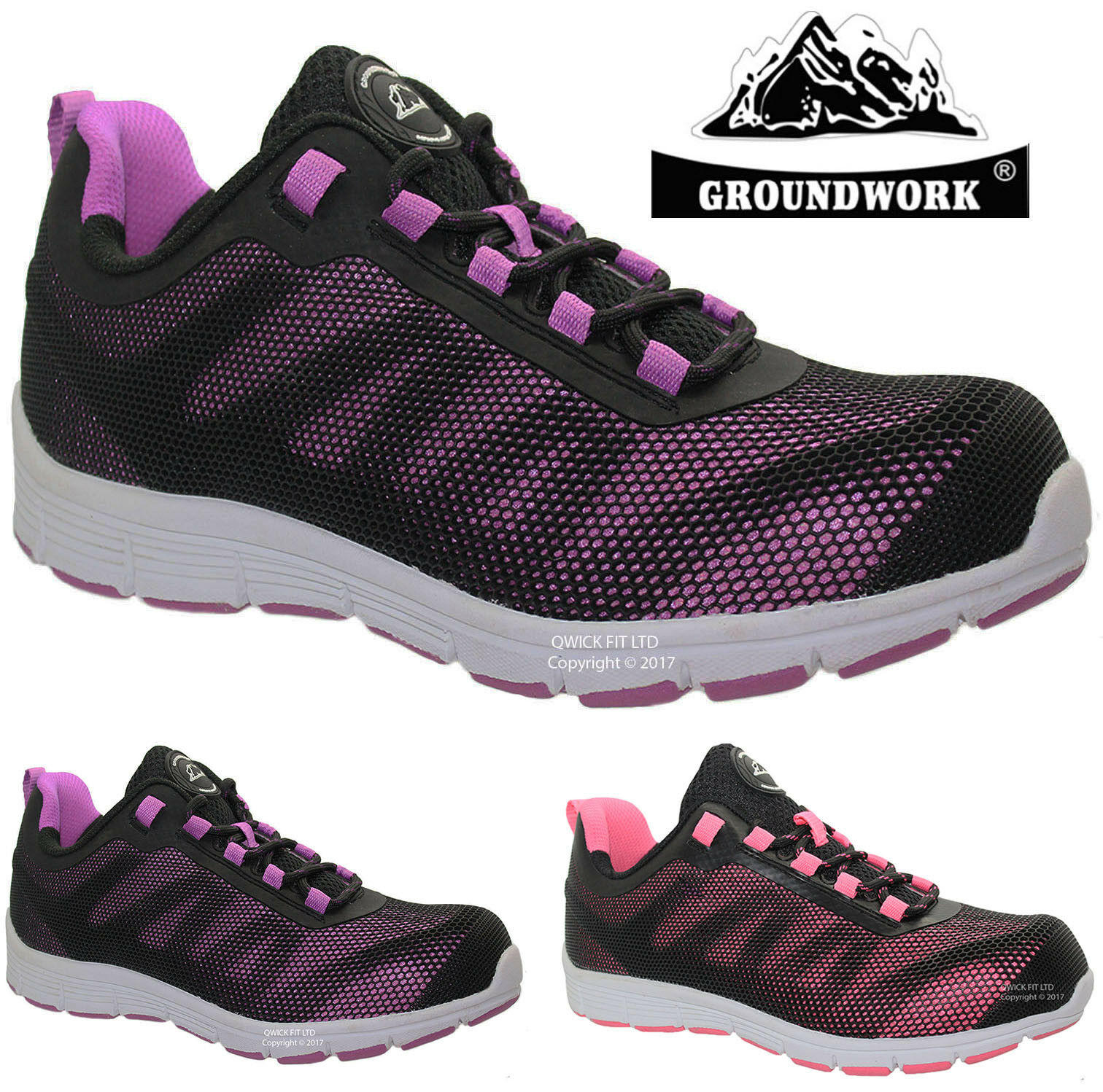 LADIES BLACK GROUNDWORK SAFETY SHOES STEEL TOE CAP WOMENS WORK BOOTS TRAINERS