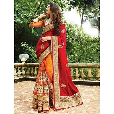 Indian Bollywood Ethnic Bollywood Designer Red Orange Saree Party Sari Tradition
