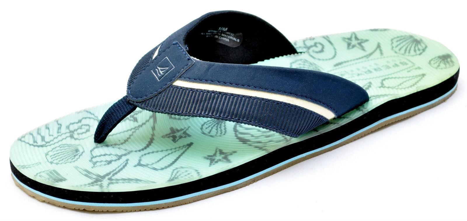 Sperry Flops Top-Sider CAMINO THONG Navy Blue Print Flip Flops Sperry Sandals Women's - NEW b6afe1