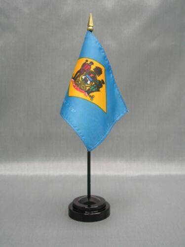 "DELAWARE 4X6/"" TABLE TOP FLAG W// BASE NEW US STATE DESK TOP HANDHELD STICK FLAG"
