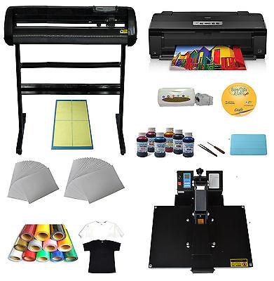 "Heat Press Machine 34"" Cutting Plotter Transfer Epson Printer Ink Vinyl T-shirts"
