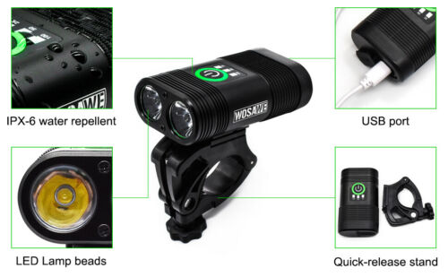 Bike Front Light Double LED Lamps Cycling Headlight Flashlight USB Rechargeable