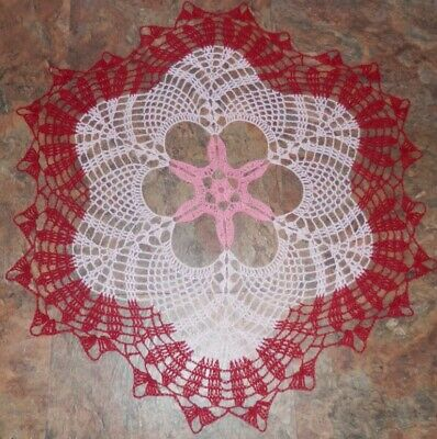 "Lovely Real Handmade Crochet Tablecloth Doily Red/pink Round 24.5"",100%cotton"