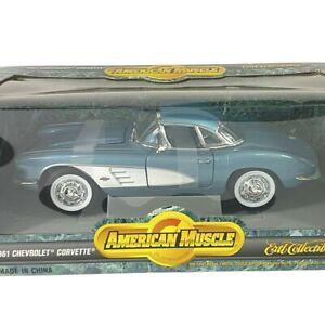#7834 American Muscle Blue 1961 Chevrolet Corvette Die Cast 1:18