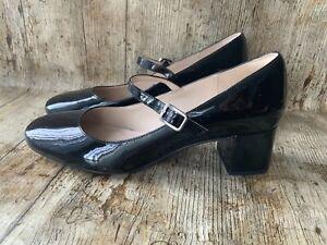 Donna Scarpe Tacchi Alti Low Mid High Nero Clarks Pelle Verniciata UK 6.5 D Mary Jane