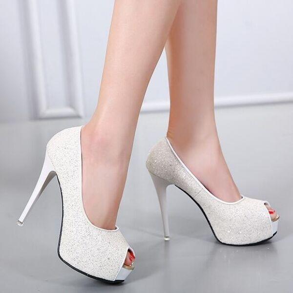 zapatos talón de salón mujer alto talón zapatos 12 cm plataforma tacón de aguja blanco 6c5a62