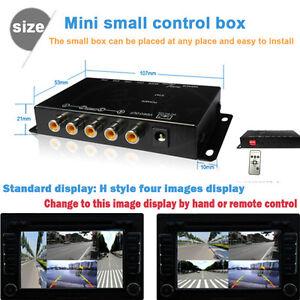 Car IR Control 4Way Video Switch Parking Camera 4 View SplitScreen