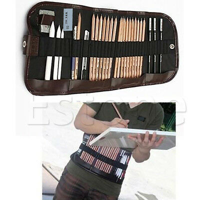 18pcs Sketch Pencils Extender Eraser Pencil Paper Pen Drawing Set With Bag