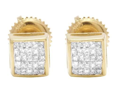 Homme Femme 14K Or Jaune Véritable Princesse Diamant Carré Boucles D/'oreille .33 Ct 5 mm
