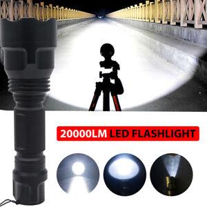 TORCIA-TATTICA-MILITARE-LED-CREE-XM-L-T6-20000LM-BICI-ZOOM-LUCE-RICARICABILE-LED