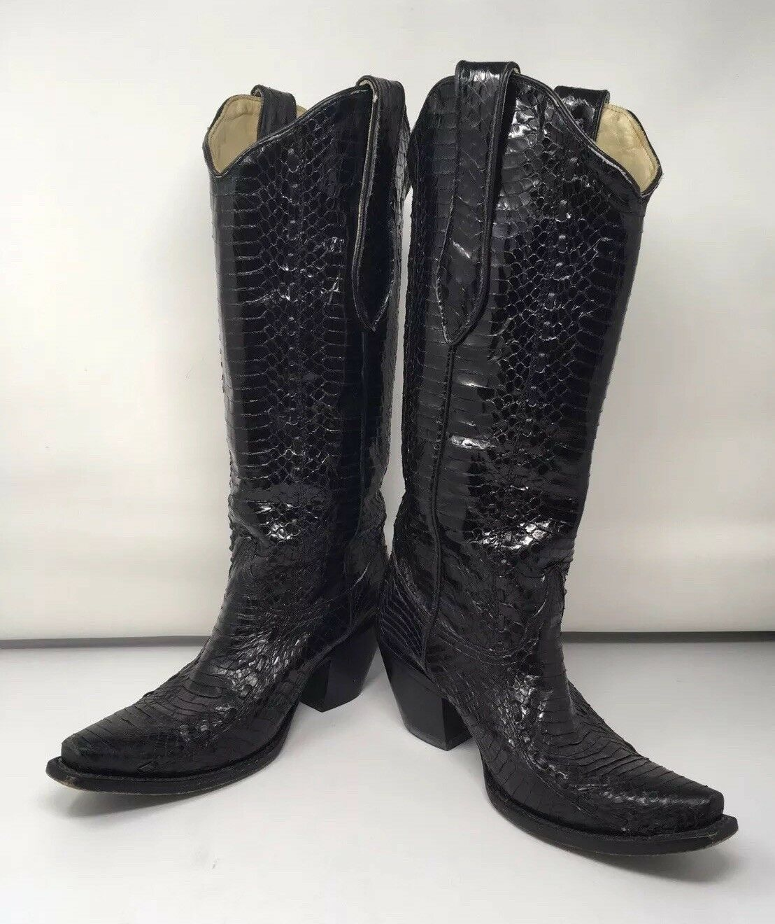 Authentic Women's CORRAL CORRAL CORRAL Black Snakeskin Western   Cowboy Boots; Size 7M;  2000+ ab1401