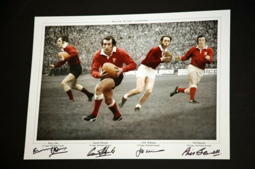 Bennett Wales Rugby Photograph Hand Signed By Edwards Williams and John