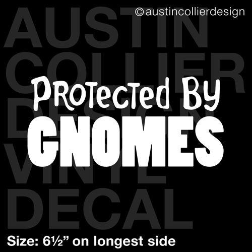 "lawn 6.5/"" PROTECTED BY GNOMES vinyl decal car truck window laptop sticker"