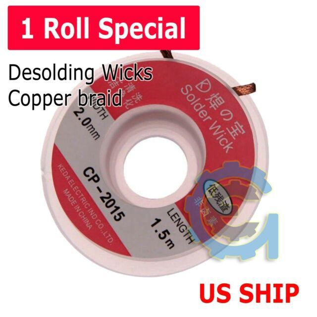 1.5M Spool CP-2015 5pcs Copper Solder Wick Desoldering Braid 2mm Wide 5ft