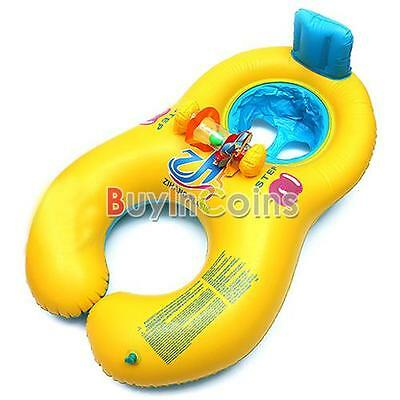 Inflatable Mother Baby Swim Float Raft Kid's Chair Seat Play Ring Pool Bath HFUS