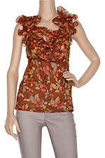 MARC RUFFLE TRIMMED PRINTED TOP NEW WITH TAG UK12 US8 LESS THAN 50% £495