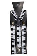 Black Adjustable Braces Suspenders Piano Musical Fancy Dress Clip On Slim 2.5cm