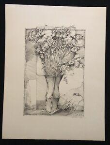Rudolf-Wernitz-Strauss-mit-Schmetterlingen-Lithographie-1979-handsigniert