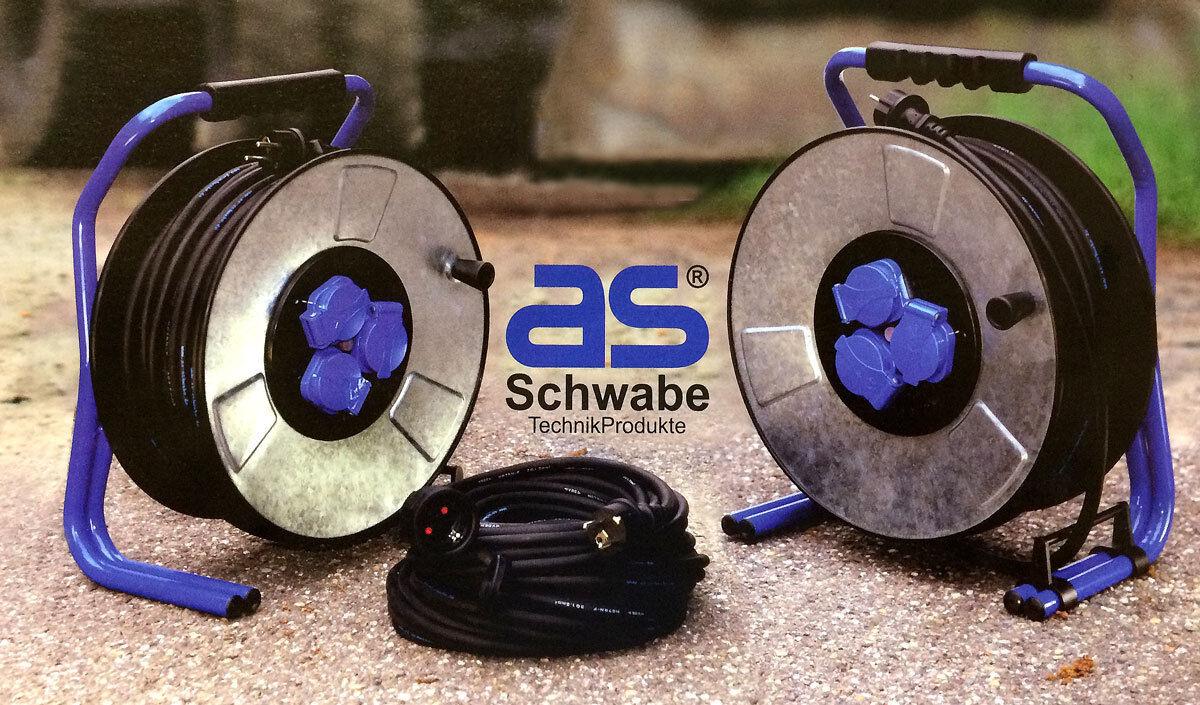 As Schwabe 2x Kabeltrommel 40m 1x Verlängerungskabel 25m m. Kabel Beschriftung