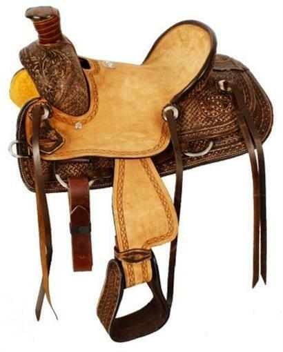Youth Ranch Saddle - 12 Inch Wade Hard Seat - Roughout and Tooled Leather