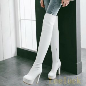 Womens-PU-Leather-Over-Knee-Thigh-Boots-Platform-High-Heels-Zip-Sexy-Party-Shoes