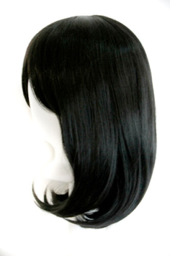 "15/"" Shoulder Length Straight Cut with Long Bangs Pitch Black Cosplay Wig NEW"