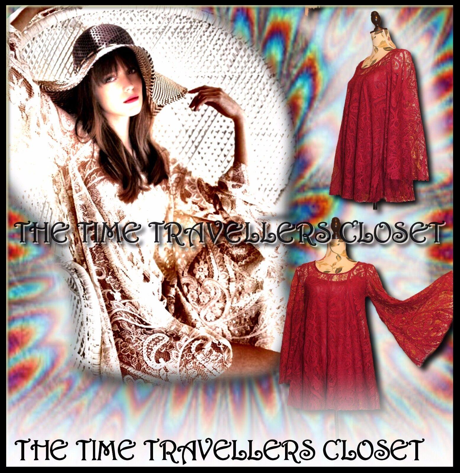 RIVER ISLAND CHELSEA GIRL RED WINE LACE VINTAGE 60s KIMONO SLEEVE DRESS 12 14+