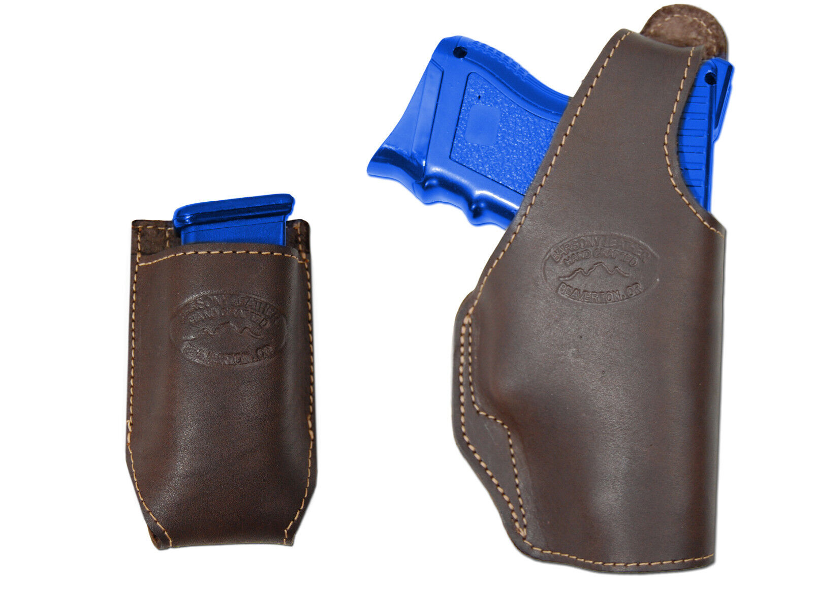 Nuevo barsony Cuero Marrón Owb Cartuchera + bolsa del Mag Colt, Kimber Compacto 9mm 40 45
