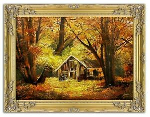 Painting-Nature-Hut-Forest-Handmade-Oil-Picture-Frame-G02316