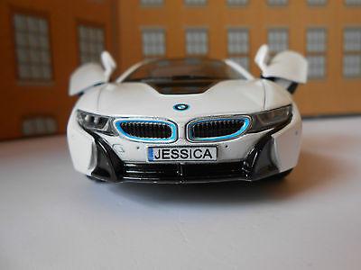 BMW i8 PERSONALISED PLATES DIE CAST Toy Car MODEL boy girl dad BIRTHDAY GIFT NEW