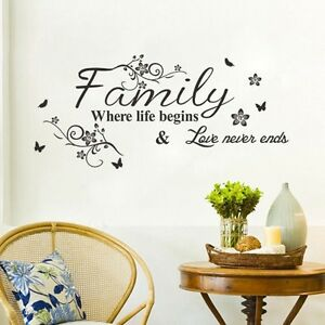 Spring-Mural-Family-Where-Life-Begins-Wall-Sticker-Quote-Words-Decal-Vinyl-Decor