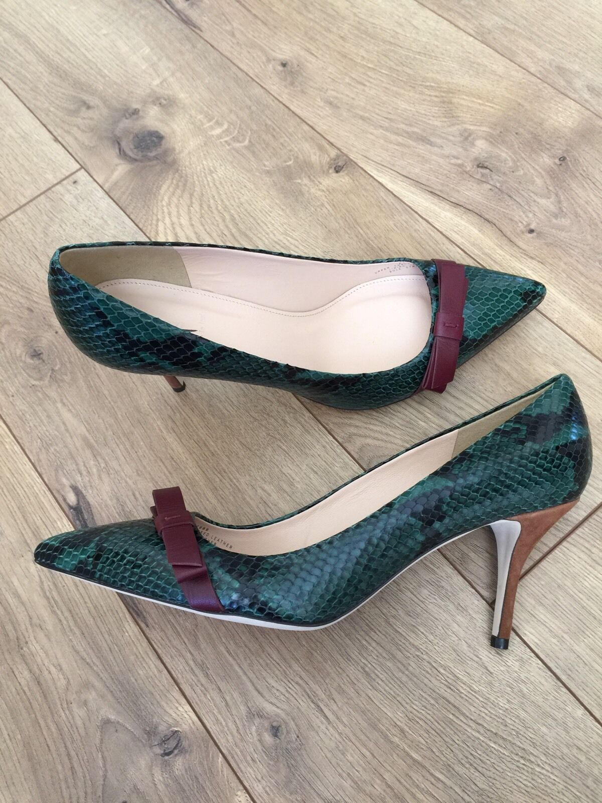 JCrew  288 Colette Bow Pump Snakeskin Printed Printed Printed Leather 11 Deep Jade F7989 NEW 7c0f89