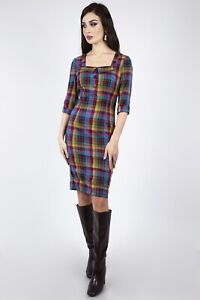 Voodoo-Vixen-Pencil-Dress-DRA8933-Camilla-Plaid-Rockabilly-50S-UK6-16
