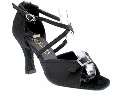 Details about  /Women/'s 1636 Black Satin  Ballroom Salsa Mambo Latin Dance Shoes heel 3 Size 7.5