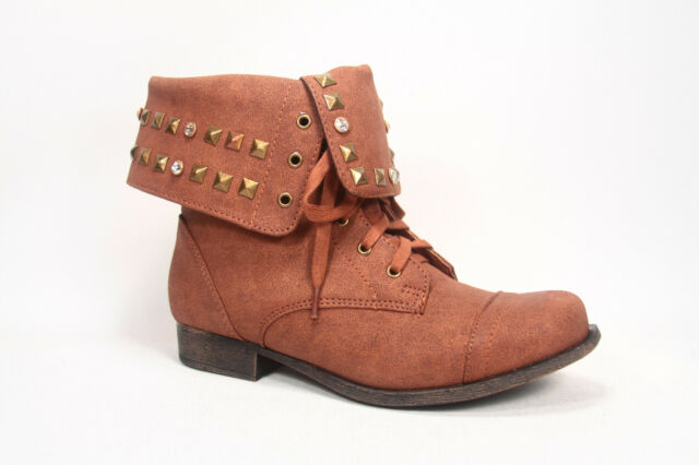 Fashion Cute Round Toe Low Heel  Military Lace Up Bootie Shoes Size 5.5 - 10 NEW