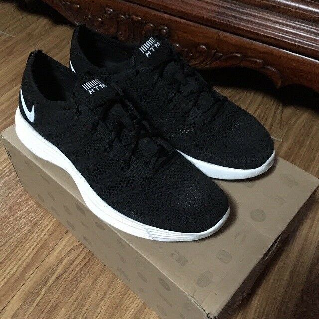 NIKE LUNAR FLYKNIT HTM NRG BLACK WHITE US 8.5 535089-090 USED WITH BOX