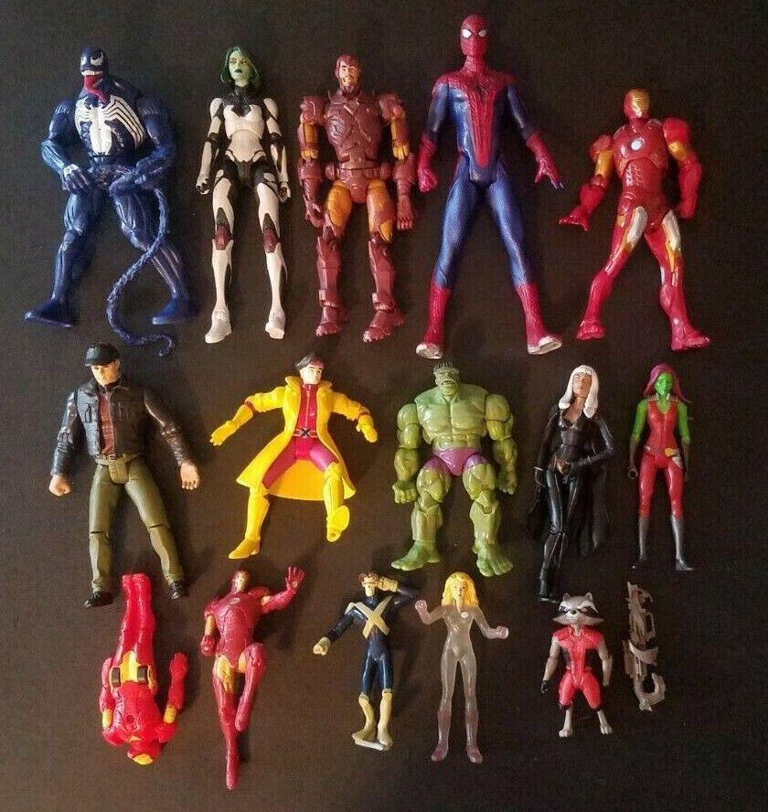 16pc Mixed Marvel Action Figures Lot Marvel Legends Jubilee Hulk Iron Man Spider