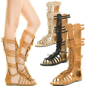 2a8e80a0944 Women Fringe Gladiator Flat Sandal Strappy Cage Mid Calf Tall Knee ...