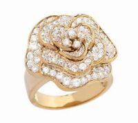 Diamonique 18k Gold Clad Sterling Radiant Elegance Pave' Flower Ring Size 5