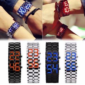 Men-Women-Lava-Iron-Samurai-Metal-Faceless-Bracelet-LED-Digital-Wristwatch