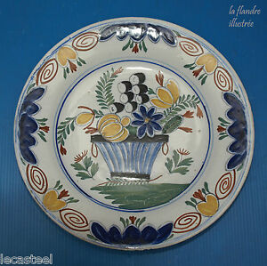 assiette-au-panier-fleuri-delfts-polychrome-18eme
